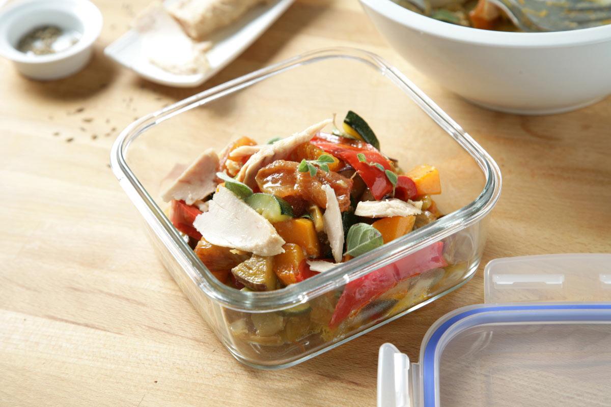 Ensalada de verduras asadas con atún