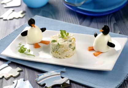 Ensaladilla de arroz y pingüinos
