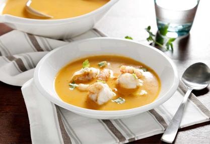 Sopa de pescado con cigalas y rape